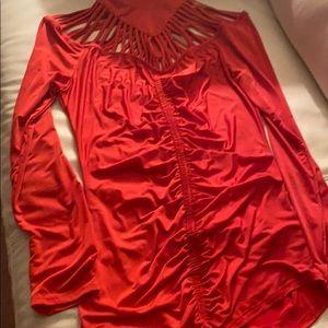Fancy long sleeve beautiful Red top